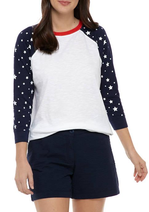 Crown & Ivy™ Womens Baseball T-Shirt