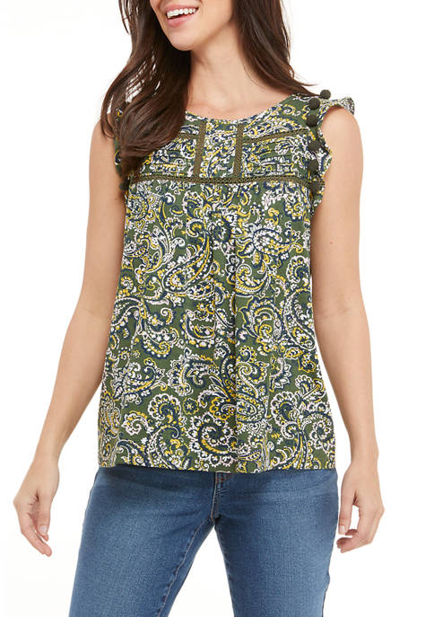 Crown & Ivy™ Womens Sleeveless Printed Flutter Shoulder