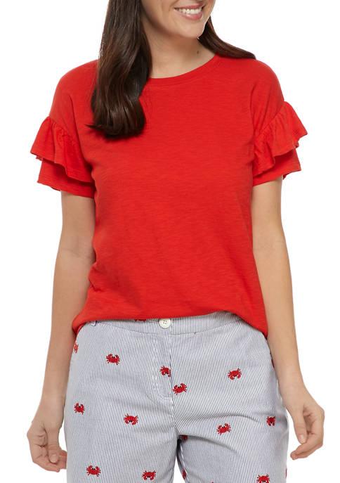 Crown & Ivy™ Womens Double Ruffle T-Shirt