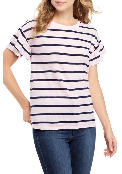 Crown & Ivy™ Double Ruffle Yarn Dye Shirt