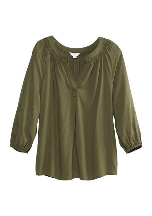Womens 3/4 Sleeve Split Neck Peasant Top