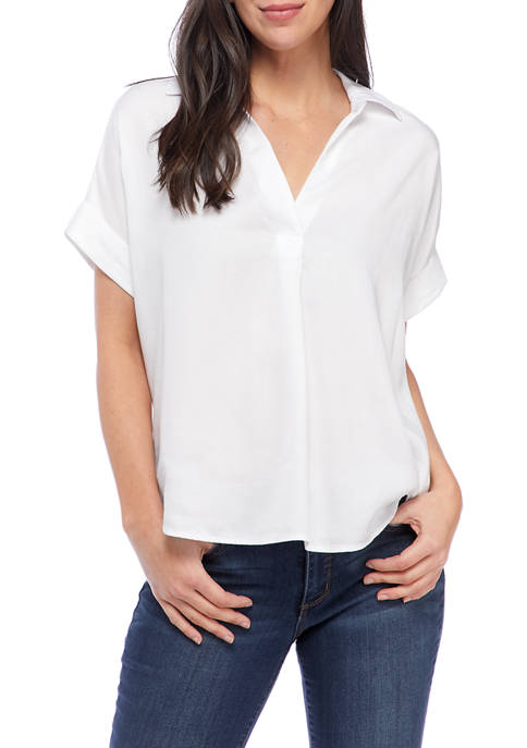 Crown & Ivy™ Womens Collared Half-Button Placket Top