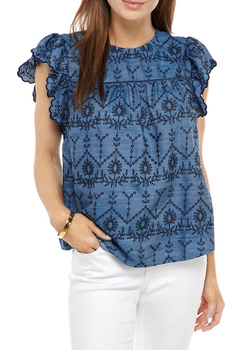 Crown & Ivy™ Womens Flutter Sleeve Embroidered Top