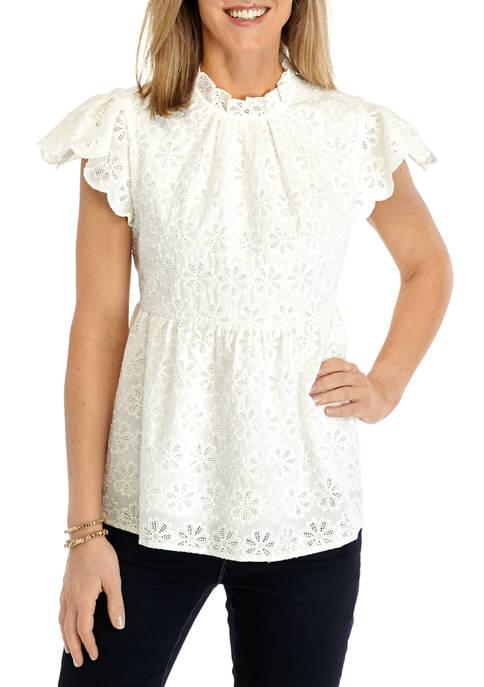 Crown & Ivy™ Womens Flutter Sleeve Top