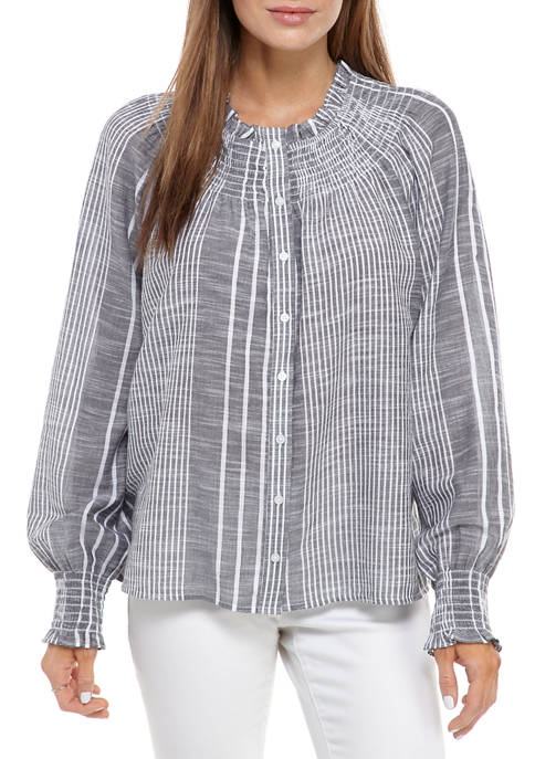 Crown & Ivy™ Womens Blouson Sleeve Button Front