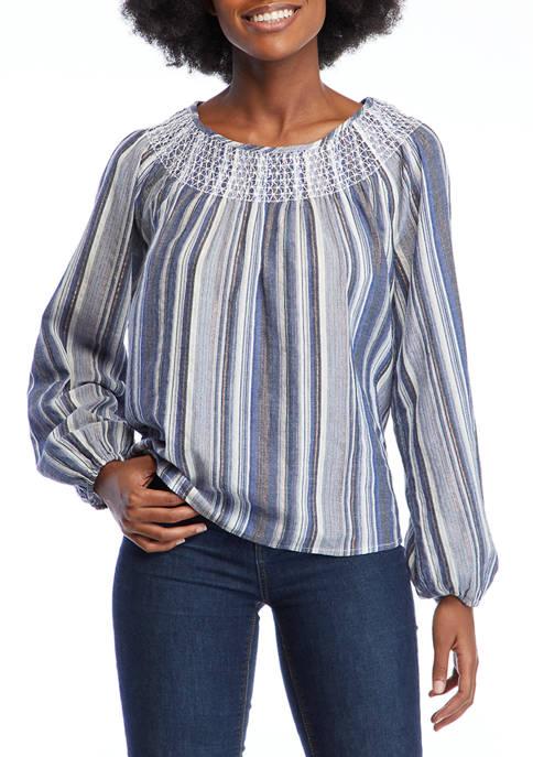 Crown & Ivy™ Womens Blouson Sleeve Striped Peasant