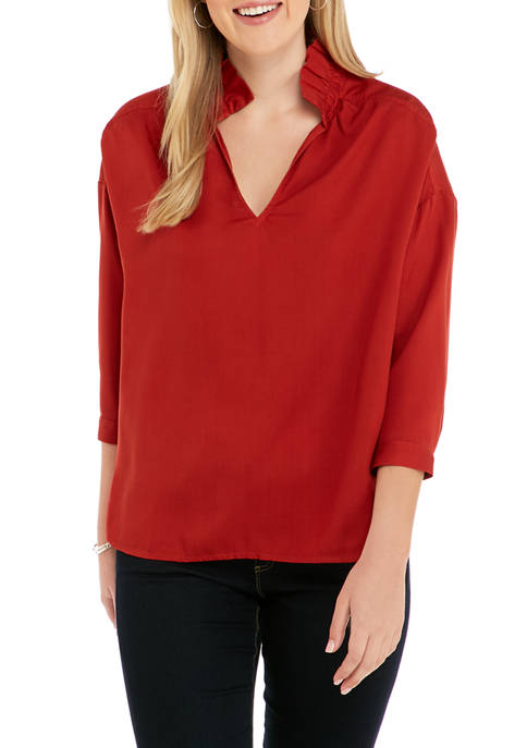 Crown & Ivy™ Womens Long Sleeve Ruffle Neck