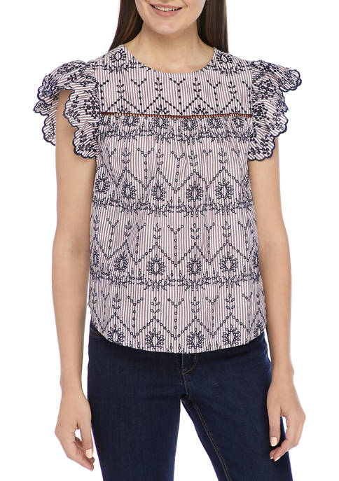 Crown & Ivy™ Womens Short Sleeve Embroidered Eyelet