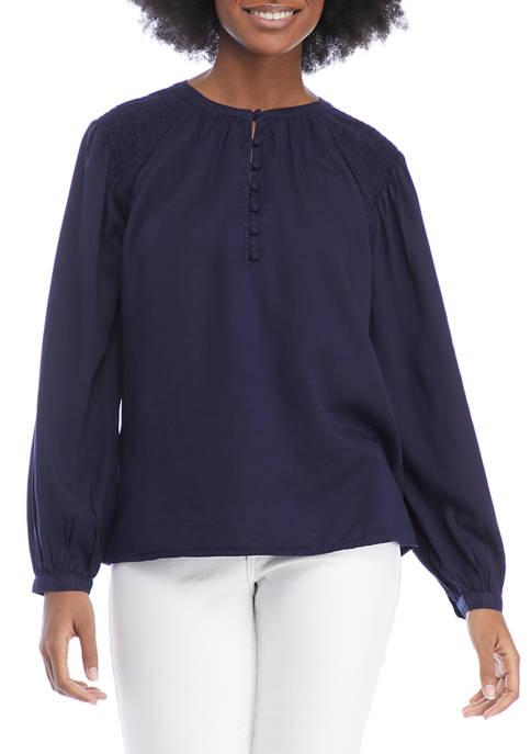 Crown & Ivy™ Womens Blouson Sleeve Smocked Split