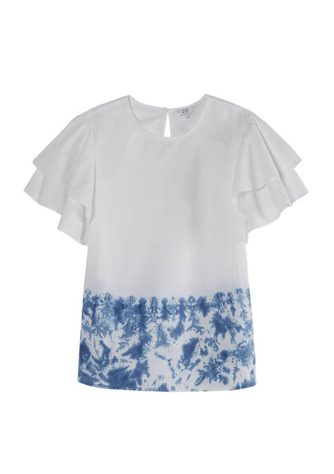 Crown & Ivy™ Womens Short Sleeve Tie-Dye Top