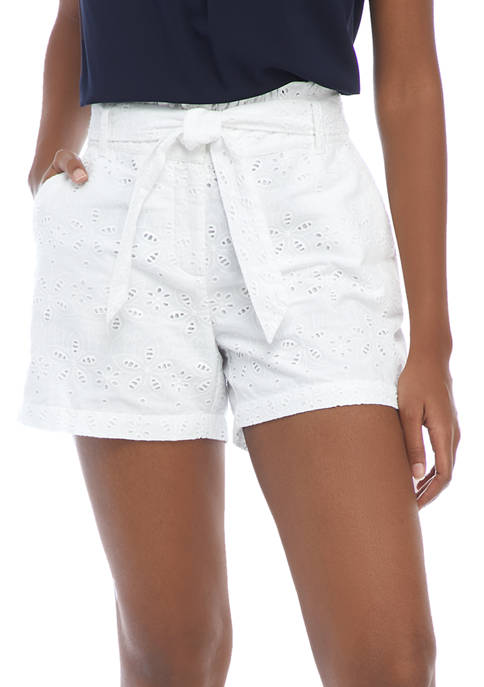 Crown & Ivy™ Womens Solid Eyelet Shorts