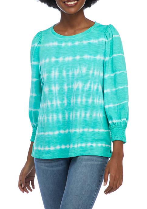 Crown & Ivy™ Womens 3/4 Puff Sleeve Printed