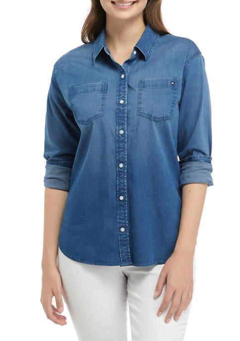 Crown & Ivy™ Womens Chambray Button Up Shirt