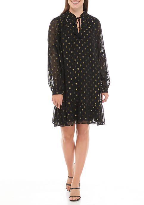 Crown & Ivy™ Womens Blouson Sleeve Tassel Neck