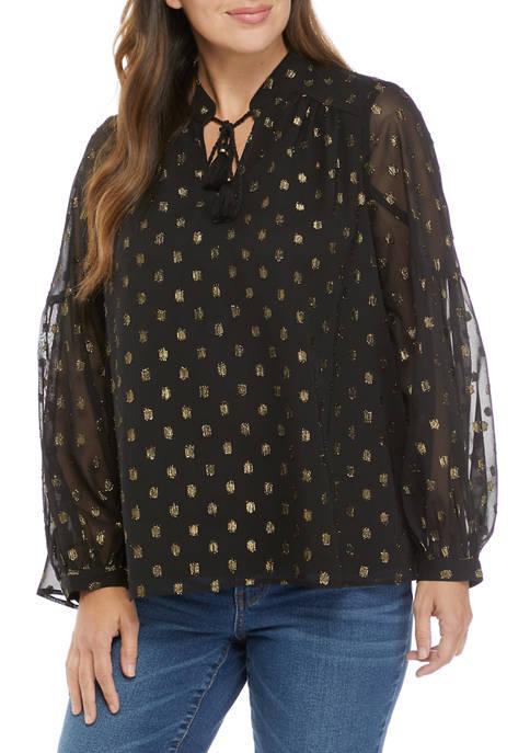 Crown & Ivy™ Womens Blouson Sleeve Foil Print