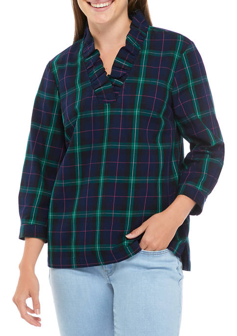 Crown & Ivy™ Womens Ruffle Neck Plaid Top