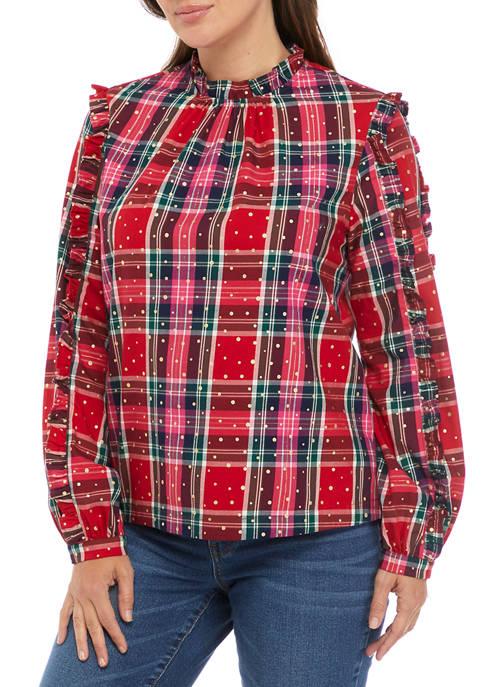 Crown & Ivy™ Womens Long Sleeve Ruffle Top