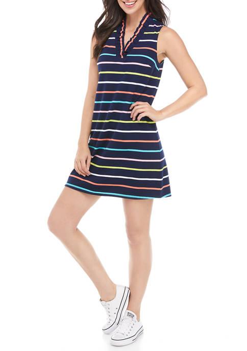 Crown & Ivy™ Womens Sleeveless Ruffle Knit Dress