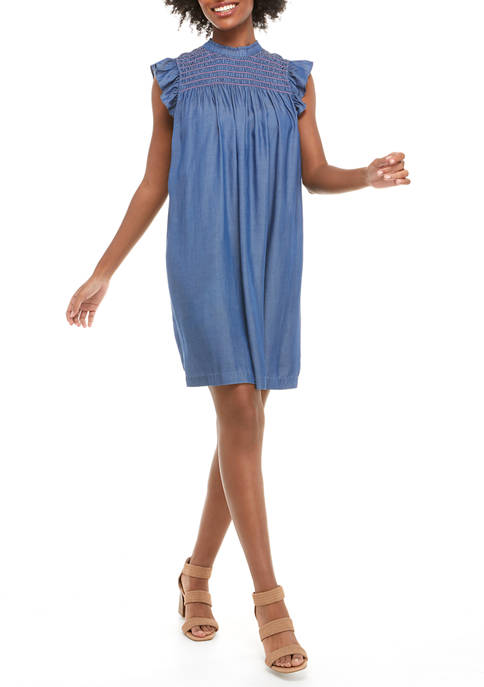 Crown & Ivy™ Womens Ruffle Sleeve Smocked Dress
