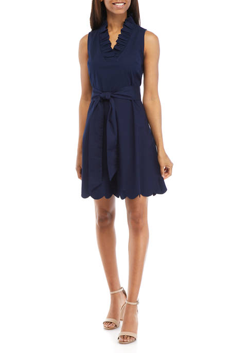 Crown & Ivy™ Womens Sleeveless Scallop Neck Dress