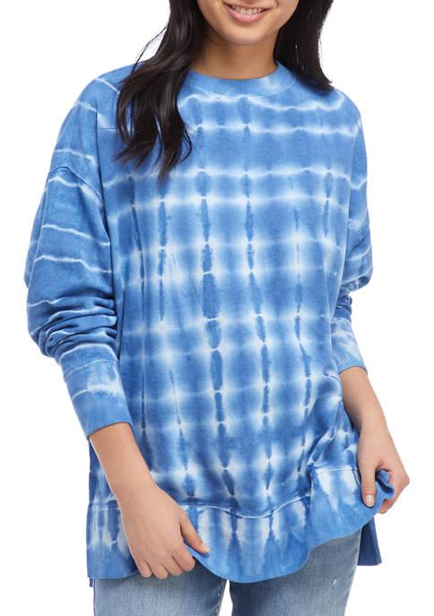 Crown & Ivy Women's Drop Shoulder Tie Dye Sweeper Pullover