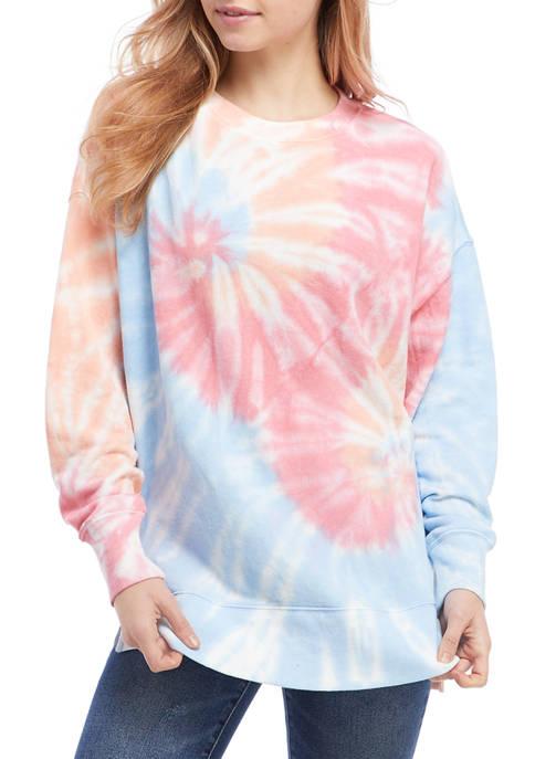 Crown & Ivy™ Womens Drop Shoulder Tie Dye