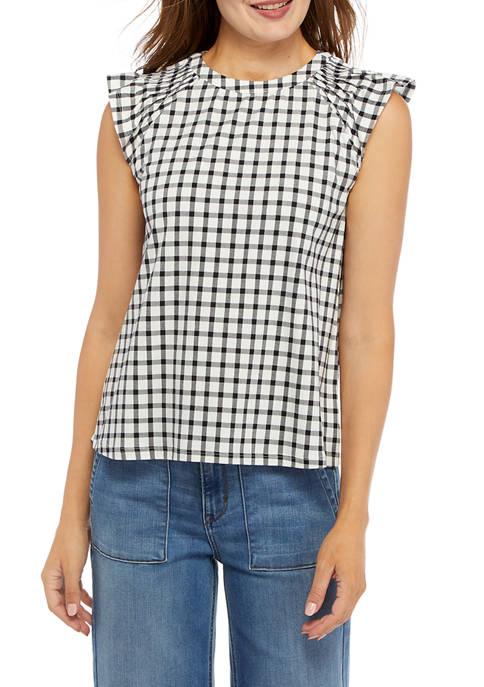 Crown & Ivy™ Womens Short Cap Sleeve Printed