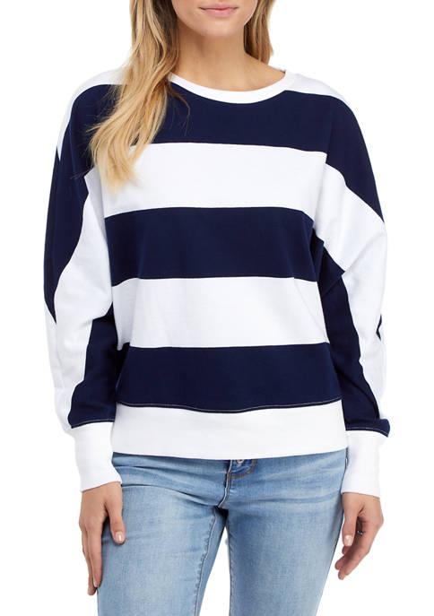Crown & Ivy™ Womens Long Dolman Sleeve Striped