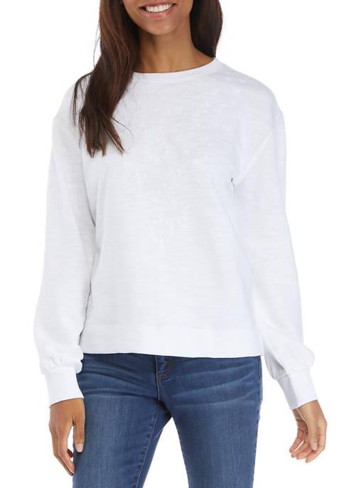 Crown & Ivy™ Womens Long Sleeve Eyelet Sweatshirt