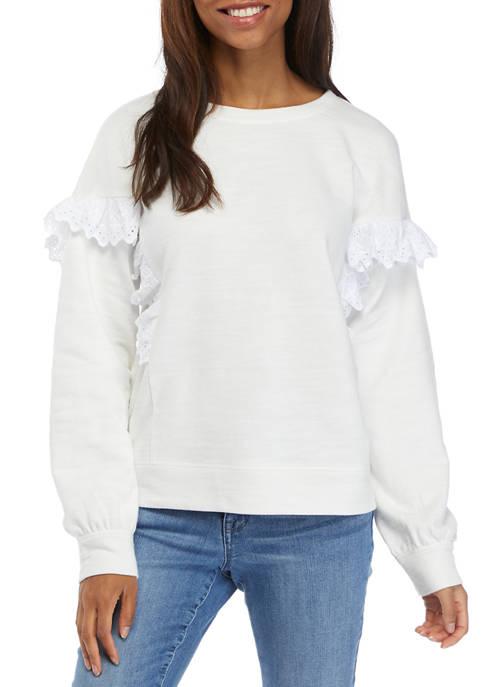 Crown & Ivy™ Womens Long Ruffle Sleeve Sweatshirt