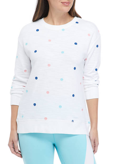 Crown & Ivy™ Womens Long Sleeve Dot Pullover