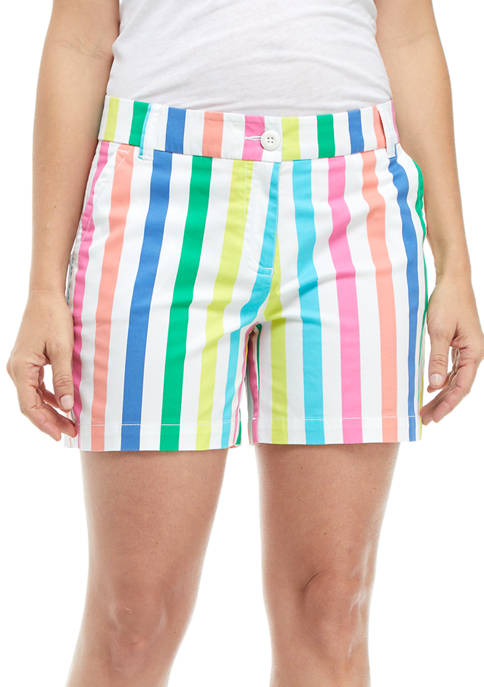 Crown & Ivy™ Womens 5 Inch Striped Shorts