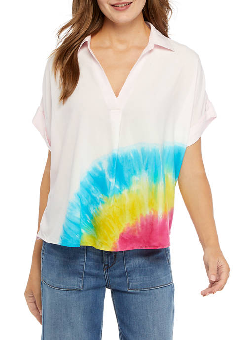 Crown & Ivy™ Womens Short Sleeve Popover Top