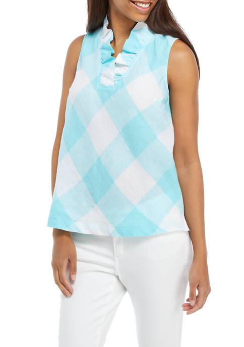 Crown & Ivy™ Womens Sleeveless Linen Ruffle Neck
