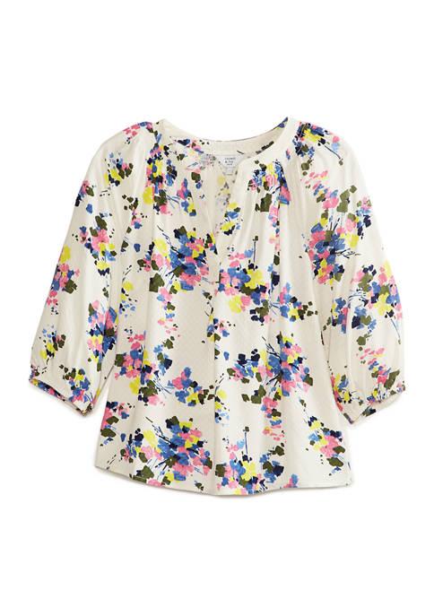 Crown & Ivy™ Womens Blouson Sleeve Floral Split