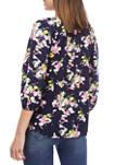 Womens Blouson Sleeve Floral Split Neck Peasant Top