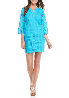 Crown & Ivy™ Solid Eyelet Dress