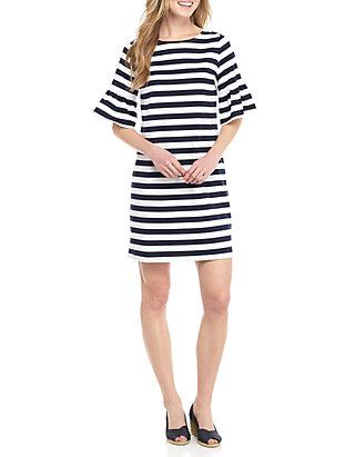 e9b73cb0af Crown   Ivy™. Crown   Ivy™ Stripe Flounce Sleeve Knit Dress