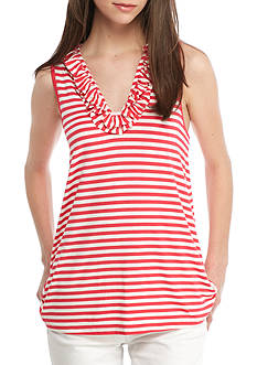 Crown & Ivy™ Stripe Sleeveless Ruffle Neck Top