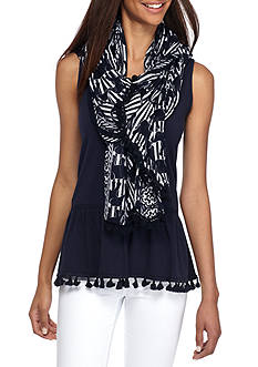 Crown & Ivy™ Stripe and Print Rectangle Scarf