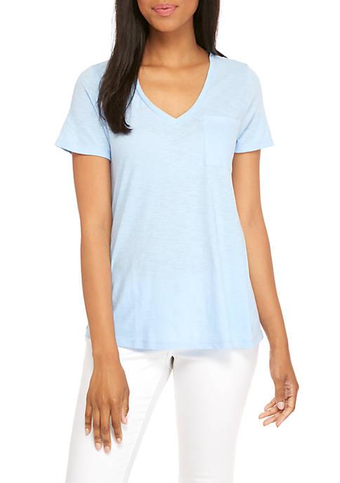 Crown & Ivy™ Womens Short Sleeve V-Neck Pocket