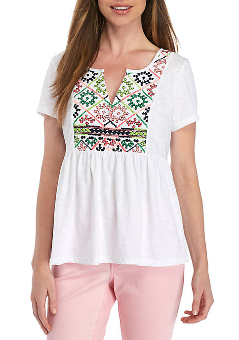 Short Sleeve Embroidered Peplum Top