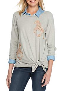 Side Tie Embroidered Sweatshirt