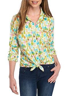 Crown & Ivy™ Pineapple Print Woven Shirt