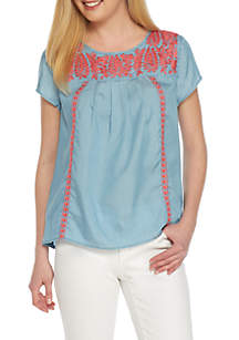 Mommy & Me Chambray Embroidered Top