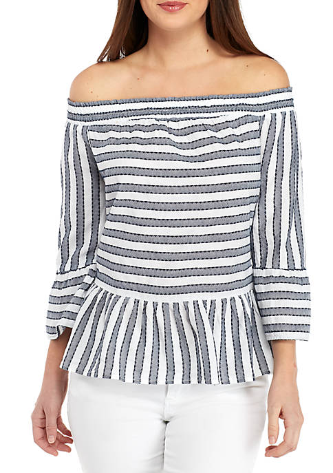 Crown & Ivy™ Off The Shoulder Textured Stripe