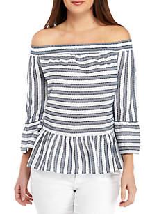 Off The Shoulder Textured Stripe Top