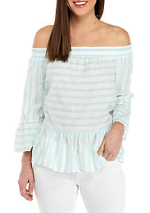 Off The Shoulder Textured Stripe Top