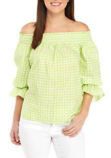 Mommy & Me Off the Shoulder Bow Back Printed Top