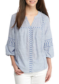 Crown & Ivy™ Pinstripe Embroidery Top
